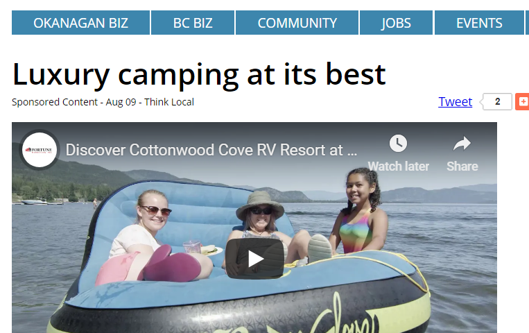 Cottonwood Cove Resort - Okanagan Edge Article