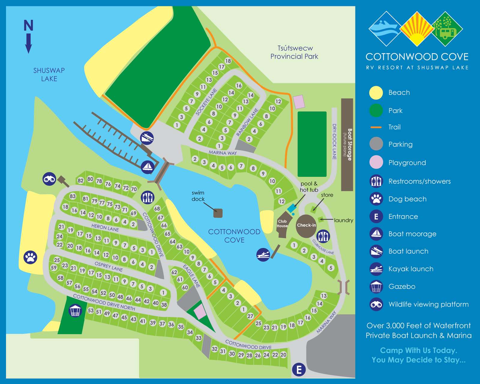 Cottonwood Cove Resort - Shuswap RV Resort Map