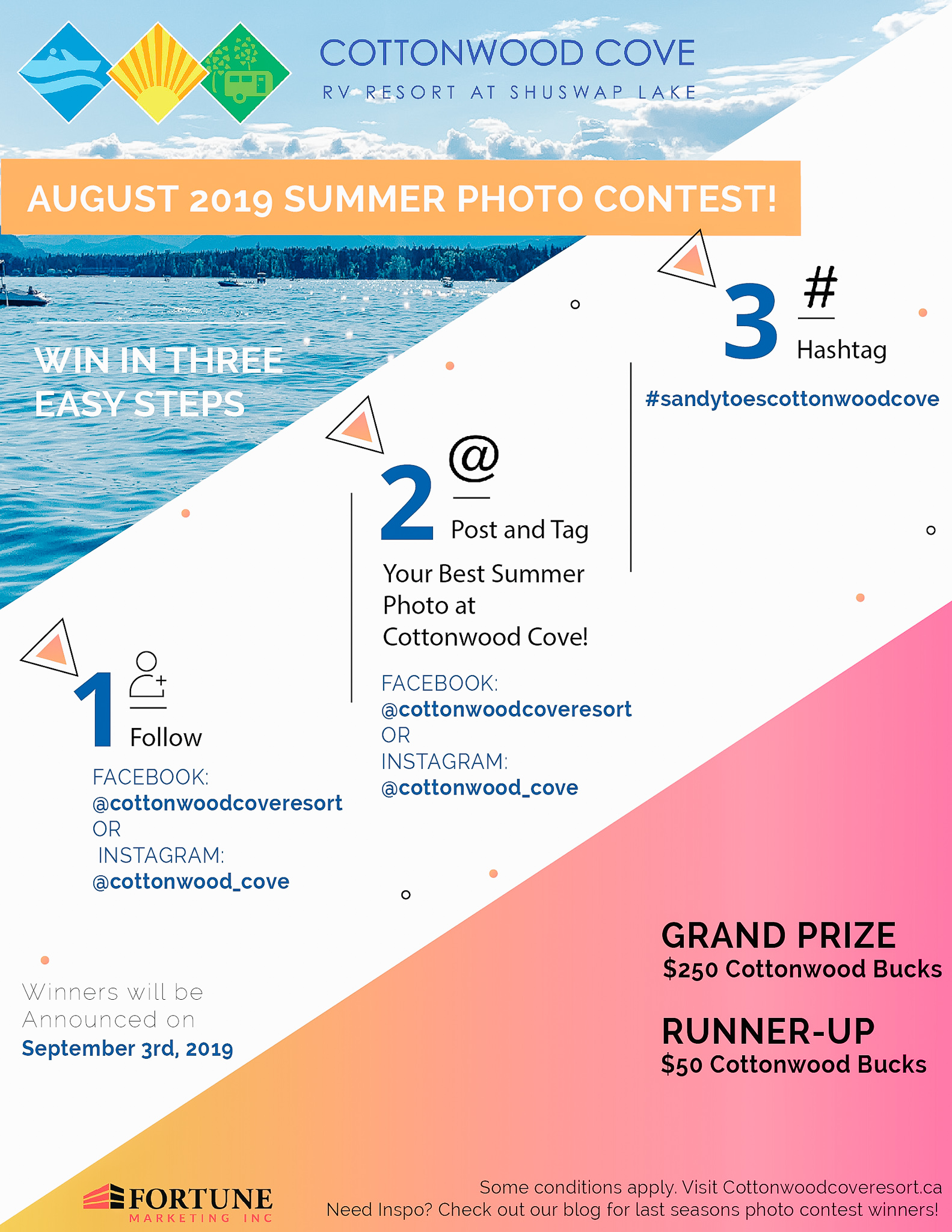 Social Media Photo Contest RV Resort at Shuswap Lake.