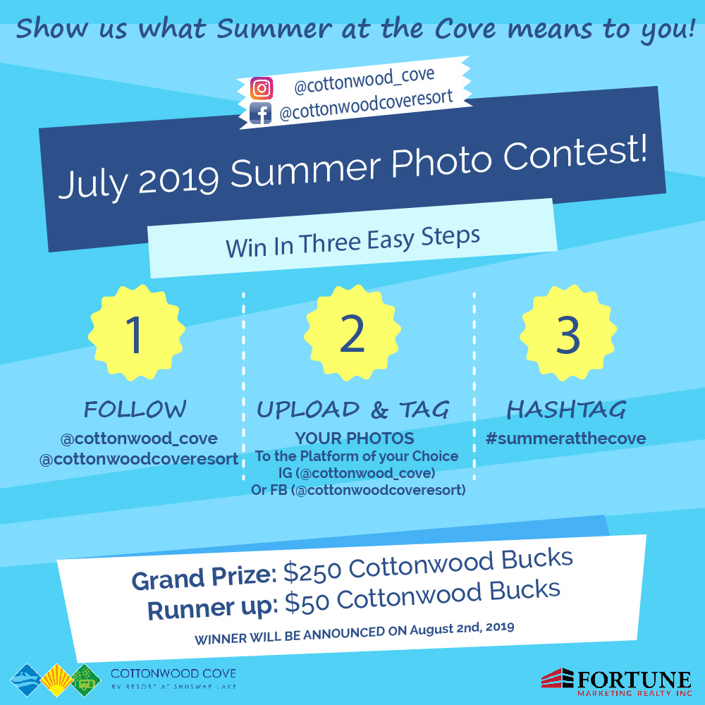 Social Media Summer Photo Contest at RV Resort in the Shuswap. Lee Creek, BC.